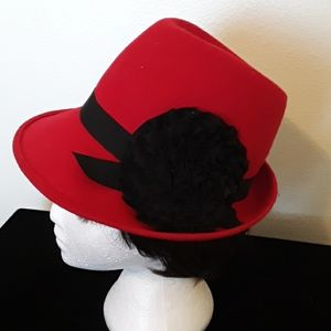 Red Hat Ladies Wool Hat With a Lg Ribbon Flower